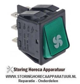 376346844  - Wipschakelaar inbouwmaat 30x22mm groen 2CO 230V 16A verlicht ventilator