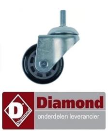ST3A96ZG00004 - Zwenkwiel zonder rem  ø 75mm met draadbout DIAMOND NT10/G-(230/1)
