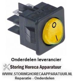252345277 - Wipschakelaar inbouwmaat 27,8x25mm geel 2NO 250V 16A verlicht 0-I aansluiting vlaksteker 6,3mm