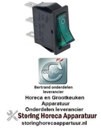 135301012 - Wipschakelaar groen 1NO/signaallamp 250V 16A 0-I voor CUPPONE