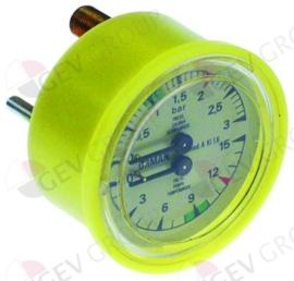 541262 - Manometer dubbele schaal ø 63mm drukbereik 0-3 - 0-15bar aansluiting keerzijde