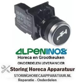 173346367 - Drukschakelaar tastend inbouwmaat ø22mm zwart 1NO water drukkend ALPININOX