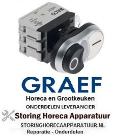 913348138 - Drukschakelaar tastend inbouwmaat ø22mm zwart/wit 1NO/1NC/signaallamp 230V 10A verlicht 0-1 voor snijmachine GREAF