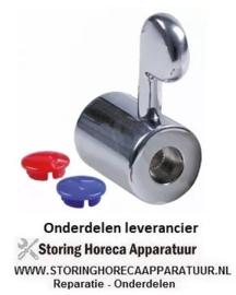 "5484.05483.34 - Kraan hendelgreep ø 30mm voor bovendelen 1/2"" koud - warmwater asafname ø 7,5mm H 41mm rood/blauw"