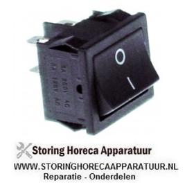 475346549 -  Wipschakelaar inbouwmaat 19x22mm zwart 2NO 250V 10A 0-I aansluiting vlaksteker 4,8mm