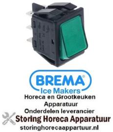 465301017- Wipschakelaar inbouwmaat 30x22mm groen 2CO 250V 16A verlicht aansluiting vlaksteker 6,3mm BREMA
