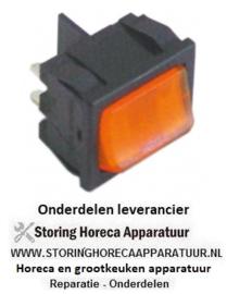 161346133 - Wipschakelaar inbouwmaat 19x22mm oranje 2NO 250V 10A verlicht 0-I aansluiting vlaksteker 4,8mm