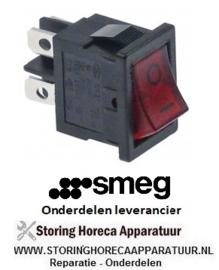 168301067 -  Wipschakelaar inbouwmaat 19x13mm rood 2NO 250V 13A verlicht 0-I aansluiting vlaksteker 4,8mm SMEG