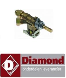"ST1E02218 - Gaskraan type 10 gasingang pijpflens ø14mm bypass sproeier ø 0mm gasuitgang 1/4"" (pijp ø 8mm DIAMOND KEB-G61/G81+FSM-12GT/N"