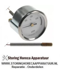 039542122 -  Thermometer inbouw ø 52mm t.max. 250°C 0-250°C voeler ø 6mm voeler L 21mm pijp ø 500mm