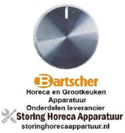 408112535 - Knop schakelaar nulstreep ø 23mm as ø 6x4,6mm afvlakking boven zilver BARTSCHER