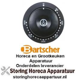 538112617 - Knop thermostaat t.max. 300°C 50-300°C ø 41mm as ø 6x4,6mm afvlakking onder zwart BARTSCHER