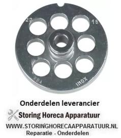 152696133 - Gatenschijf gehaktmolen type ENTERPRISE grootte 22 gat ø 16mm met naaf 1 RVS ø 82 mm