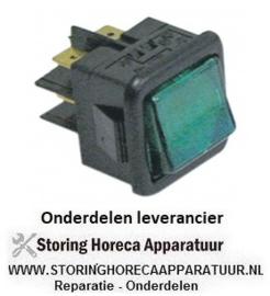 705345003 - Wipschakelaar inbouwmaat 27,8x25mm groen 2NO 250V 16A verlicht aansluiting vlaksteker 6,3mm