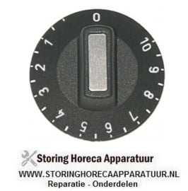 251110237 - Knop energieregelaar 1-10 ø 50mm as ø 6x4,6mm afvlakking boven zwart