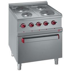 E7/4PF7 - Elektrisch fornuis 4 platen op elektrische oven GN 2/1 en gril DIAMOND