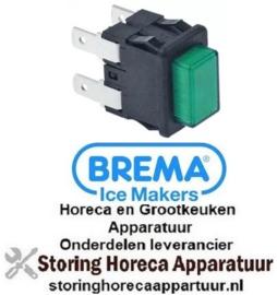 275346871 - Drukschakelaar inbouwmaat 19x13mm vierkant groen 2NO 250V 16A verlicht aansluiting BREMA