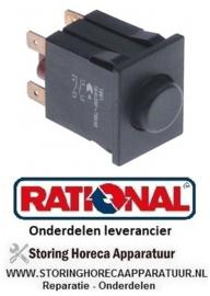 26330161430 - Drukschakelaar inbouwmaat 30x22mm zwart 2NO 250V 16A niet-verlicht aansluiting vlaksteker 6,3mm RATIONAL
