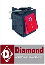 18991310090  - Wipschakelaar rood 250V 16A NO - DIAMOND Gaz Line