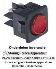 305345282 - Wipschakelaar inbouwmaat 27,8x25mm rood 2CO 250V 16A verlicht aansluiting vlaksteker 6,3mm
