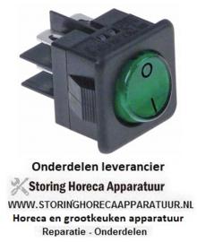 182345278 - Wipschakelaar inbouwmaat 27,8x25mm groen 2NO 250V 16A verlicht 0-I aansluiting vlaksteker 6,3mm