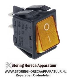 0024.03010.02- Wipschakelaar inbouwmaat 30x22mm oranje 2NO 250V 16A verlicht 0-I aansluiting vlaksteker 6,3mm