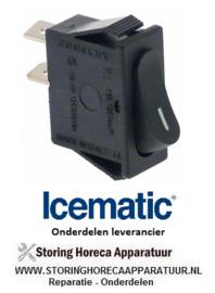 282348107 - Wiptaster inbouwmaat 30x11mm zwart 1NO 250V 16A I aansluiting vlaksteker 6,3mm ICEMATIC