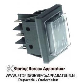 523301228 - Wipschakelaar inbouwmaat 30x22mm zwart 2CO 250V 16A I-II aansluiting vlaksteker 6,3mm