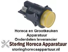 403345162 - Drukschakelaar inbouw ø 25mm geel 2NO 250V 16A verlicht aansluiting vlaksteker 6,3mm