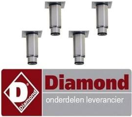 445PRX4-HE - Set van 4 regelbare poten in RVS voor kasten DIAMOND