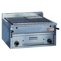 "PLX80 - Gas lava-stone grill - roasting grill in an ""O-form -Top-"