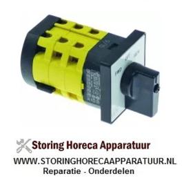 345347733 - Draaischakelaar 3 1-0-2 contactset 6 6909V 16A as ø 7x8mm as L 15mm as vierkant
