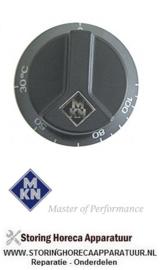 465110199 - Knop thermostaat t.max. 110°C ø 65mm as ø 6x4,6mm afvlakking boven zwart instelbereik 30-110°C  MKN