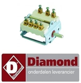 ST1A01001 - Nokkenschakelaar 4 schakelstanden 1NO/2CO schakelvolgorde 0-1-2-3 16A as ø 6x4,6mm as L 15mm, DIAMOND SA/60E