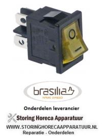 182301068 - Wipschakelaar inbouwmaat 19x13mm geel 2NO 250V 13A verlicht 0-I aansluiting vlaksteker 4,8mm BRASILIA