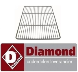 2246027010003 - Draadrooster B 325mm, D 530mm, GN 1/1, H 10mm staal kunststof gecoat draadsterkte buitenring 8mm DIAMOND MR-PIZZA/CP