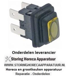 299359446 - Drukschakelaar inbouwmaat 19x13mm geel 2NO 250V 16A verlicht aansluiting vlaksteker 6,3mm
