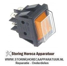 226346297 - Wipschakelaar inbouwmaat 30x22mm oranje 2NO 230V 16A verlicht aansluiting vlaksteker 6,3mm
