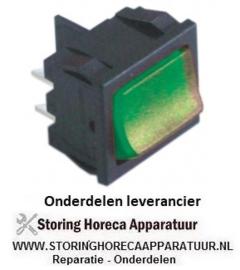 55040346550 - Wipschakelaar inbouwmaat 19x22mm groen 2NO 250V 10A verlicht 0-I aansluiting vlaksteker 4,8mm