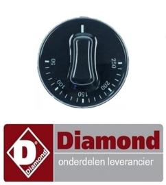 2434.0.066.0100 - Knop thermostaat t.max. 250°C instelbereik 50-250°C ø 50mm as ø 6x4,6mm DIAMOND GR42