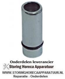 """732515047 - Standpijp grootte 3/4"""" werklengte 28 mm totale hoogte 54 mm AD ø 20 mm messing verchroomd"""