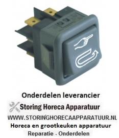101345123 - Wipschakelaar inbouwmaat 27,8x25mm zwart 2CO 250V 16A auto/manueel aansluiting vlaksteker 6,3mm