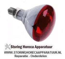 048357094 - Infrarood warmhoudlamp fitting E27 240V 150W  rood hardglas