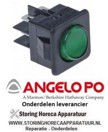 312345280 - Wipschakelaar inbouwmaat 27,8x25mm groen 2CO 250V 16A verlicht aansluiting vlaksteker 6,3mm