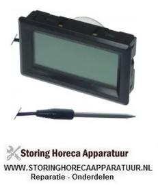 018378100 - Thermometer inbouwmaat 59x33mm voorkant maat 62x36mm batterij compartiment achter