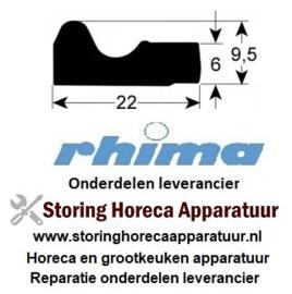 38450730010 - Deurrubber L 1050 mm B 22 mm H 9,5 mm RHIMA DR51, DR51S