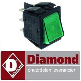 ST191310085 - Wipschakelaar inbouwmaat 30x22mm groen2CO 24V 6A verlicht aansluiting vlaksteker 6,3mm DIAMOND MACRO42