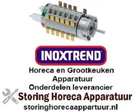 283300274 - Draaischakelaar 12 schakelstanden 2NO/2NC as ø 6x4,6mm as L 24mm aansluiting F6,3x0,8 INOXTREND