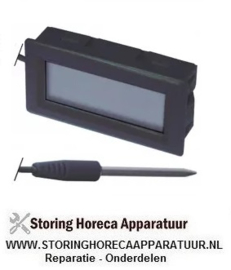 026378099 - Thermometer inbouwmaat 51,5x24,5mm voorkant maat 53x28mm batterij compartiment achter