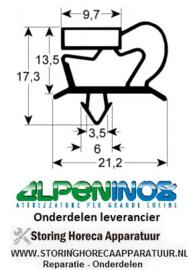 058900018 - Koeldeurrubber profiel 9048 B 372mm L 572mm steekmaat deur passend voor  Alpeninox